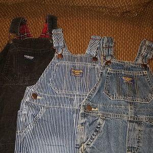 3 pairs of Oshkosh Bgosh bib overalls